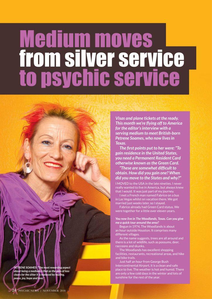 Petrene Soames - Psychic News Magazine - November 2018