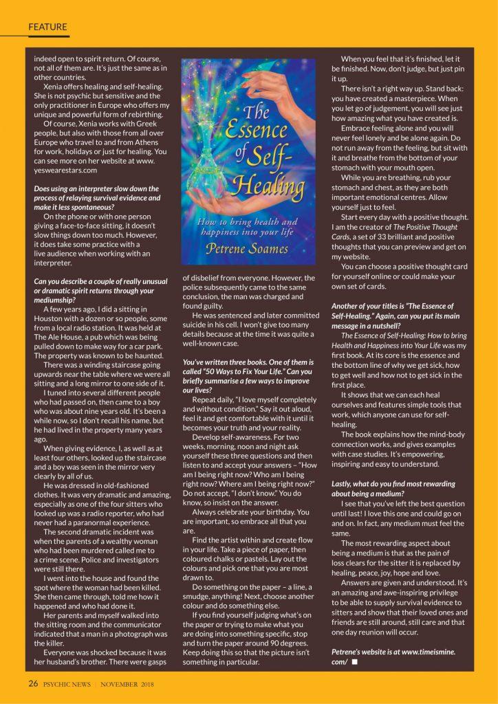 Petrene Soames - Psychic News Magazine - November 2018 - page 3